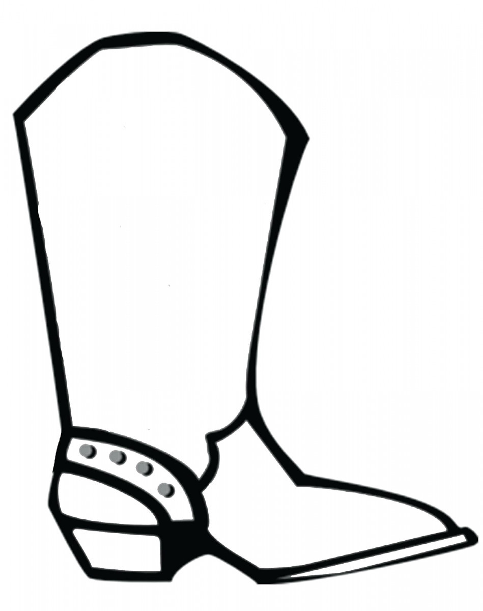 949x1200 Cowboy Boot Coloring Page