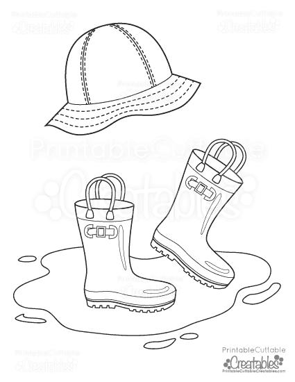 425x550 Rainboots Rain Hat Free Printable Coloring Page