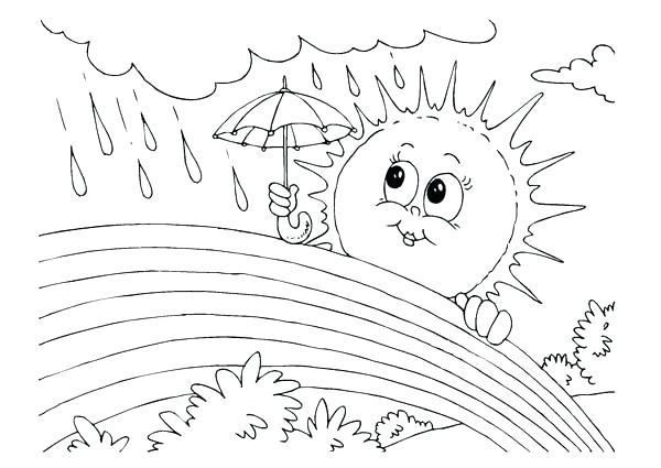 600x425 Weather Coloring Pages Rain Coloring Page Rain Coloring Pages Sun