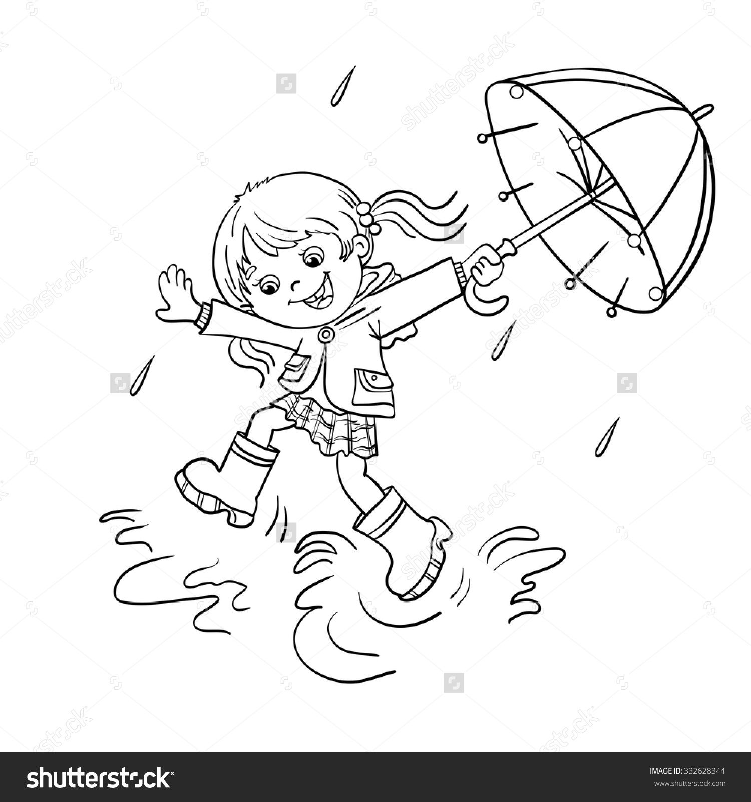 1500x1600 Playing In The Rain Coloring Pages Coloring Page Outline