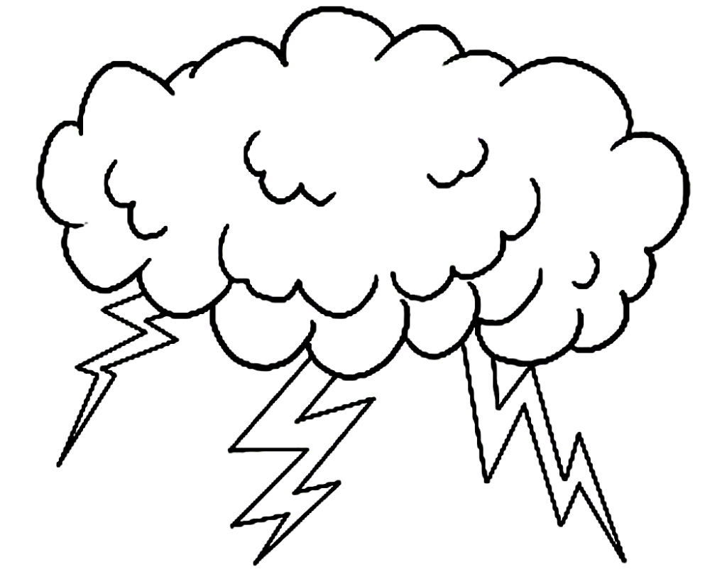 1024x805 Clouds Rain Coloring Page Free Printable Cloud Pages Kids Shapes