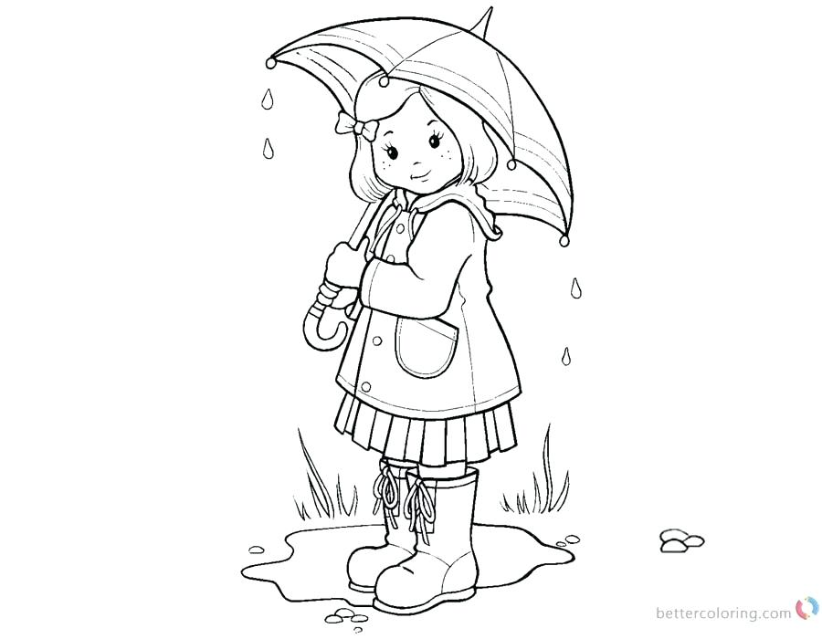 900x700 Raindrop Coloring Pages Umbrella Girl Free Printable Download This