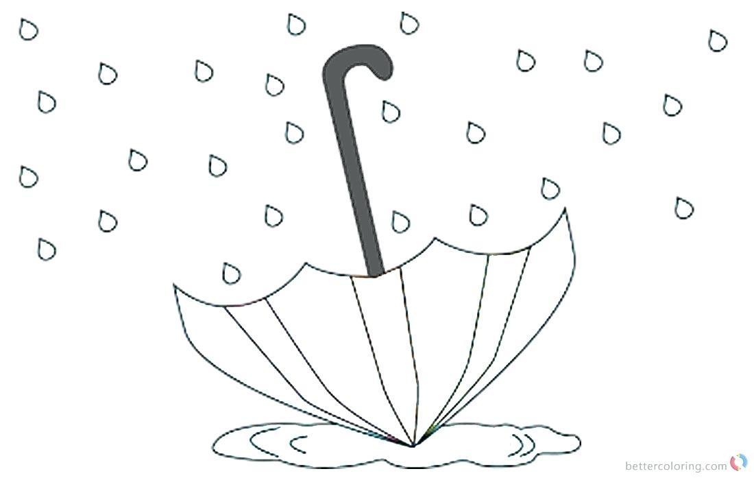 1100x700 Raindrop Coloring Pages Umbrella In The Rain Free Printable