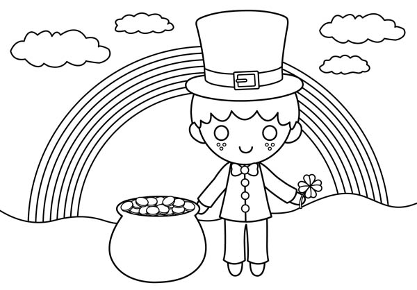 Rainbow And Pot Of Gold Coloring Pages At Getdrawings Com Free For