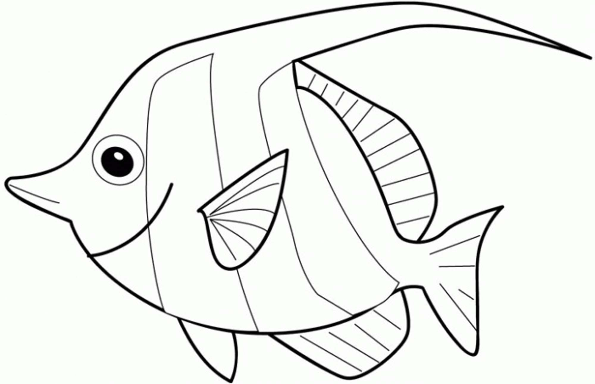 2000x1291 Rainbow Fish Coloring Page