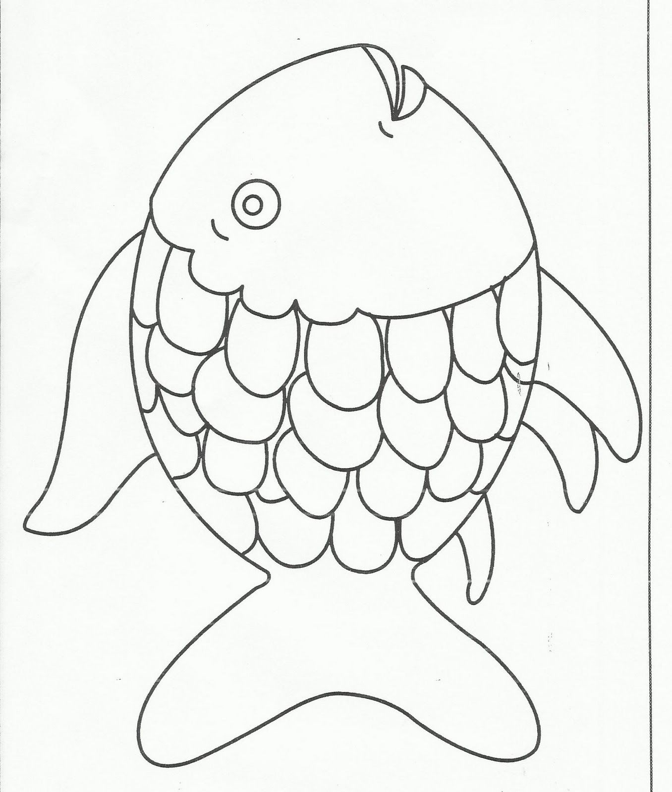 1356x1600 Rainbow Fish Coloring Page