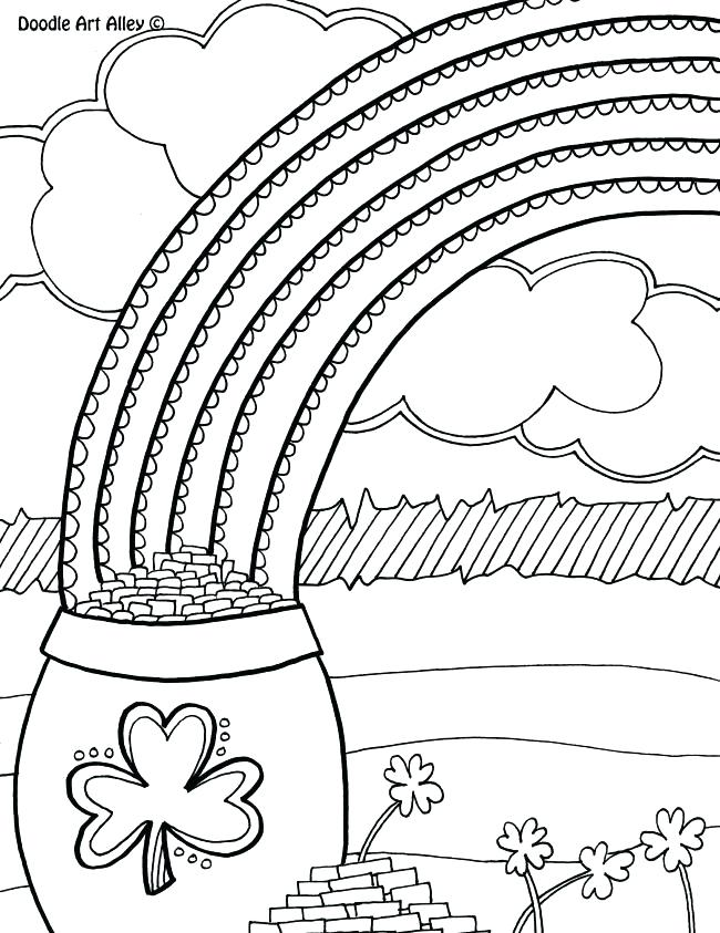 650x843 Pot Of Gold And Rainbow Coloring Pages