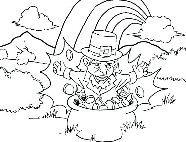 600x459 Pot Of Gold Coloring Page A Kids Drawing Of Pot Of Gold Coloring