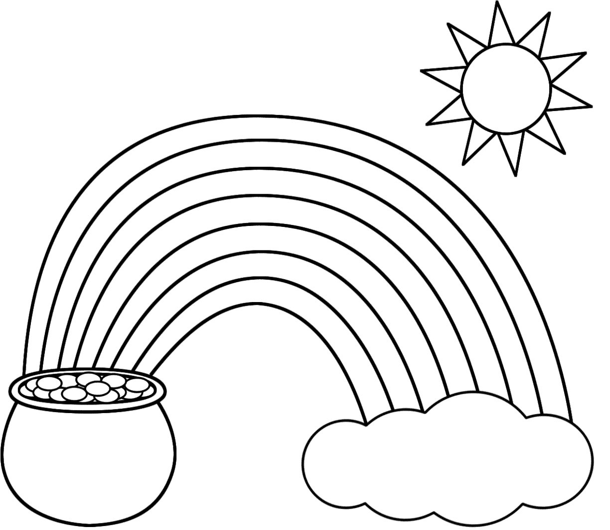 1224x1065 Pot Of Gold Coloring Page Printable