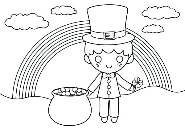 600x418 Pot Of Gold Coloring Pages Coloring Page Of A Rainbow Pot Of Gold