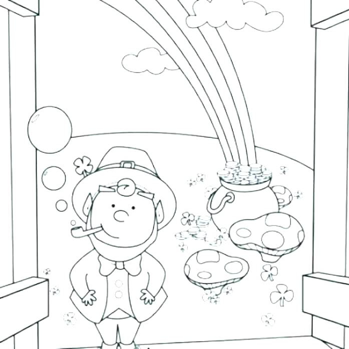 697x697 Pot Of Gold Coloring Pages Largest Pot Of Gold Coloring Page