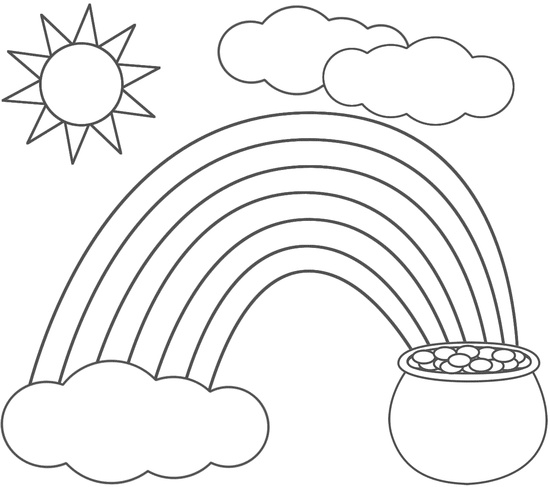 550x487 Pot Of Gold Coloring Page Printable Rainbow And Pot Of Gold