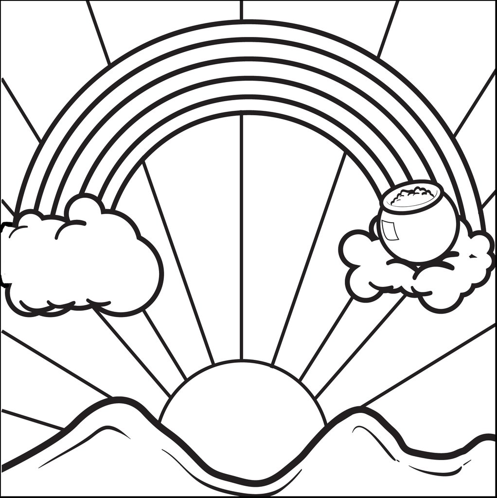 1022x1024 Free, Printable Rainbow With A Pot Of Gold Coloring Page For Kids