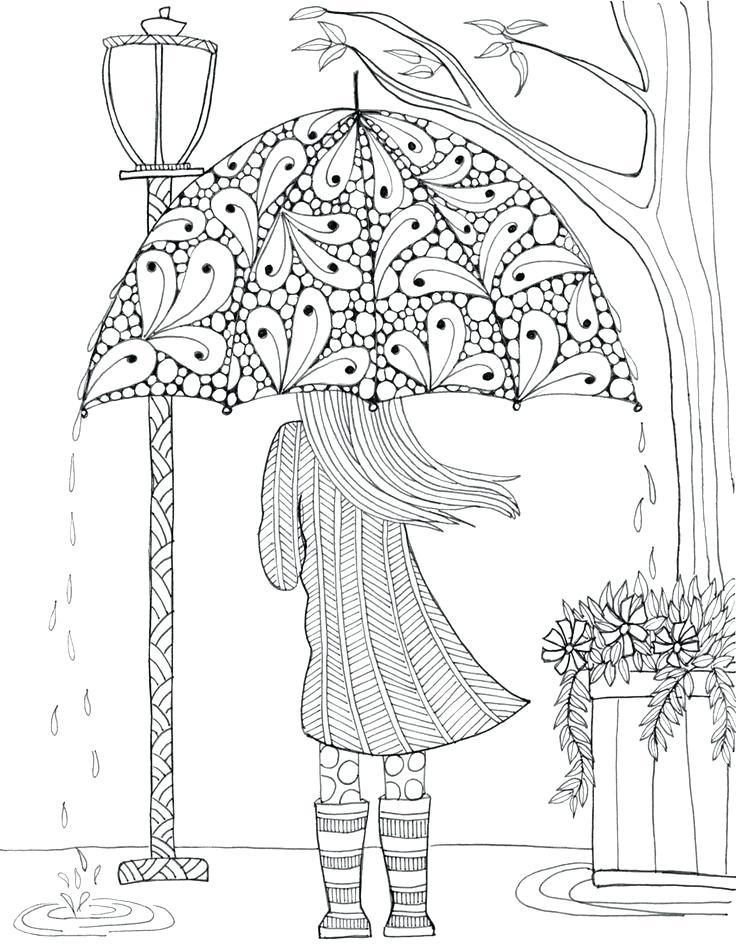 736x952 Rain Coloring Page Drawn Umbrella Colouring Picture Raincoat