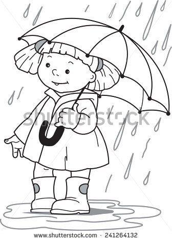 336x470 Little Girl In A Raincoatd Rubber Boots Hiding Under