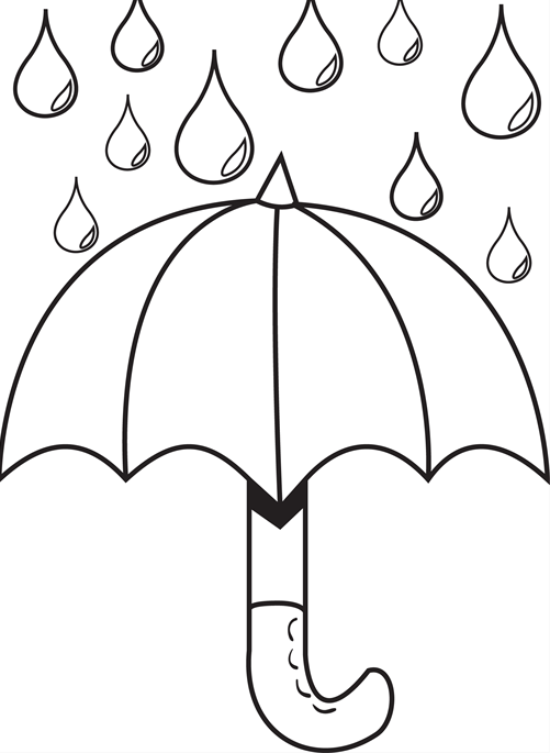 501x685 Umbrella Day Coloring Pages Umbrella With Raindrops Coloring