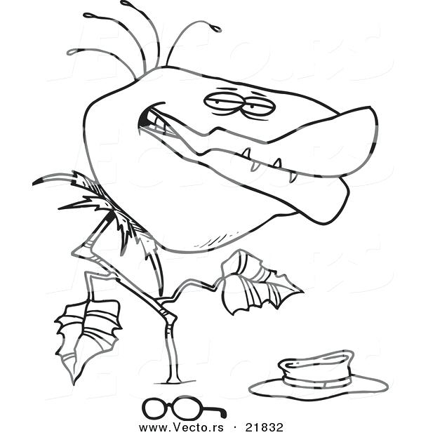 600x620 Plants Coloring Page Vector Of A Cartoon Carnivorous Plant