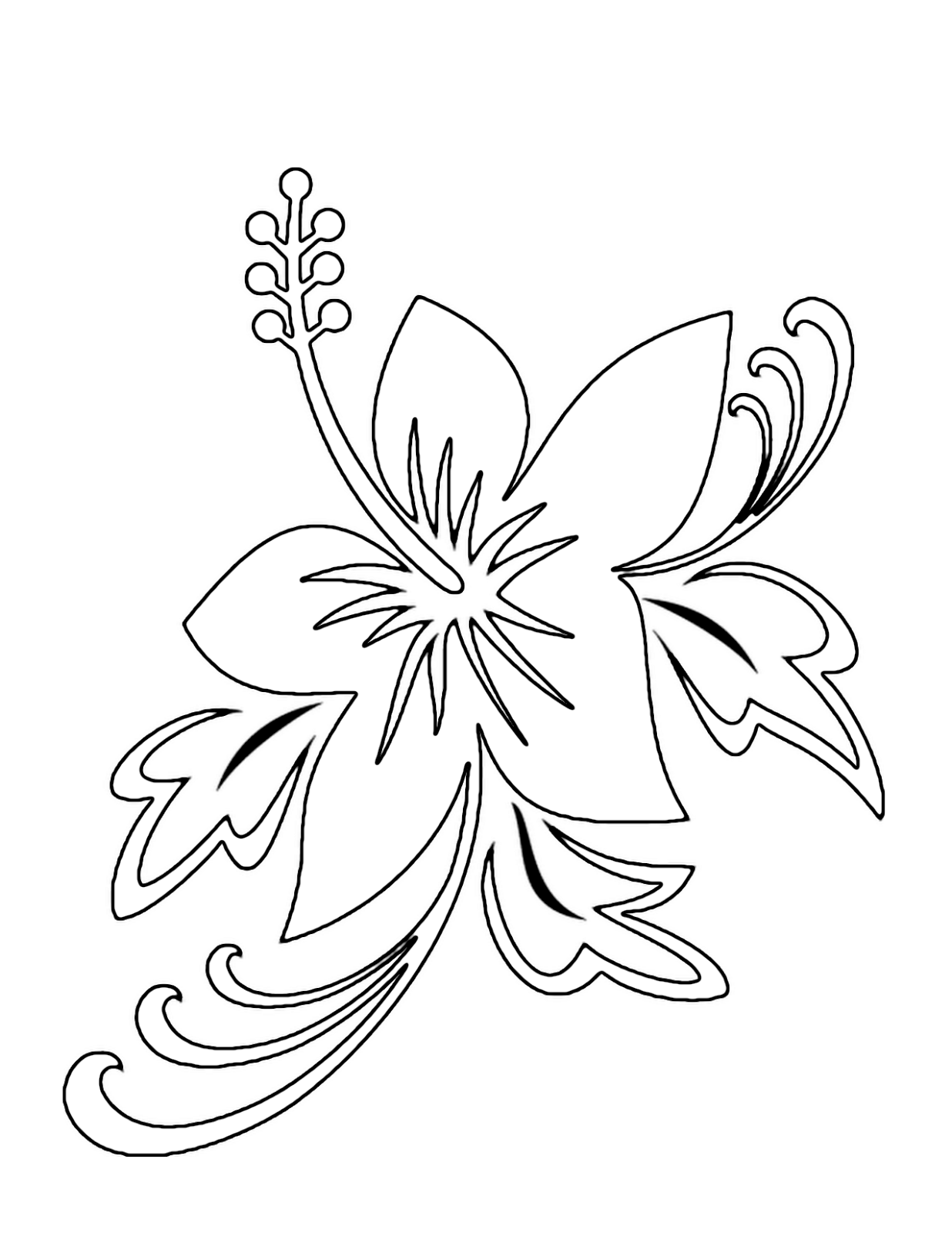 1236x1600 Hawaiian Flower Coloring Pages