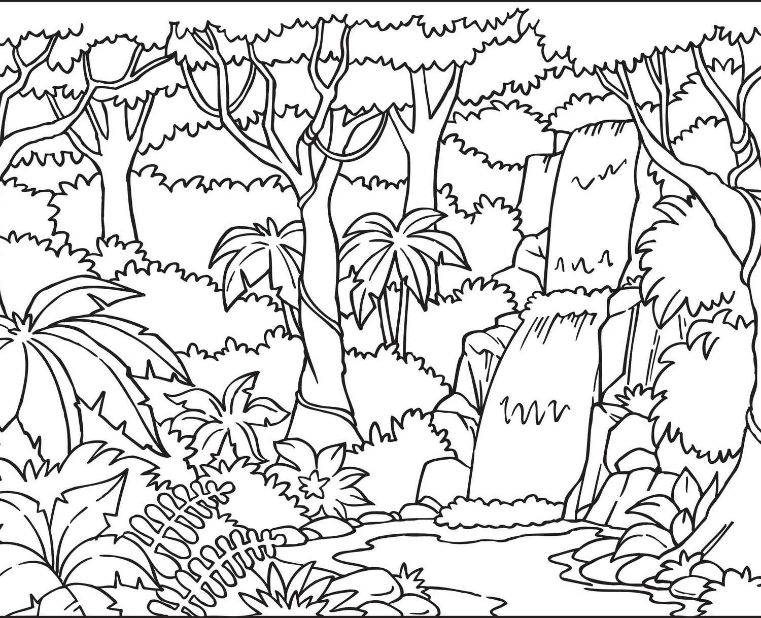 1500x1218 Happy Tropical Forest Coloring Pages Rainforest Animal Animals