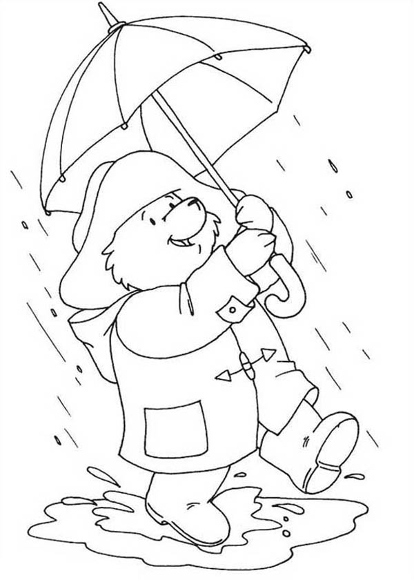 600x840 Paddington Bear Walking Around On Rainy Day Coloring Page Color Luna