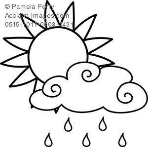 300x298 Art Image Of A Sun With A Rain Cloud Weather Coloring Page