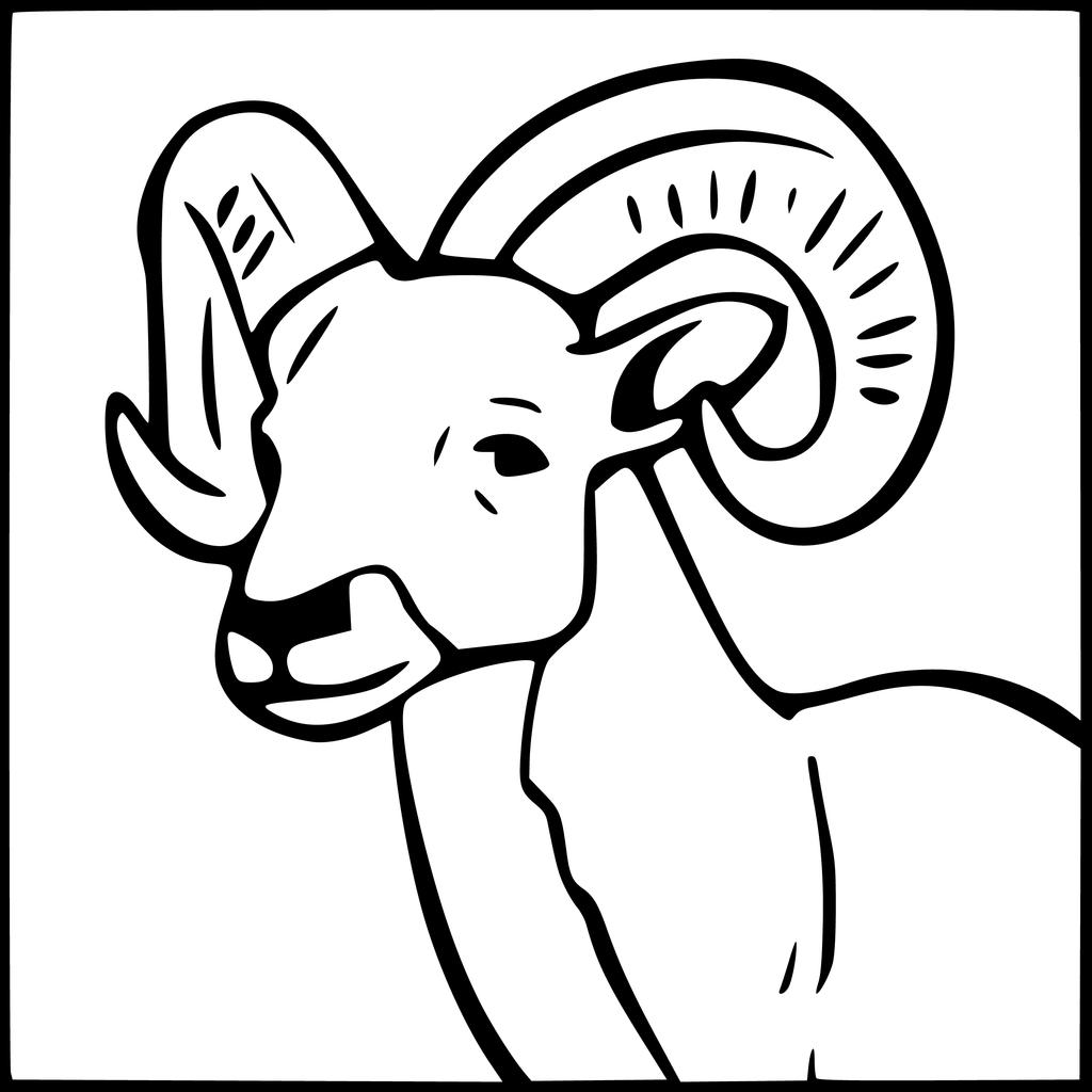 1024x1024 Ram Animal Coloring Page