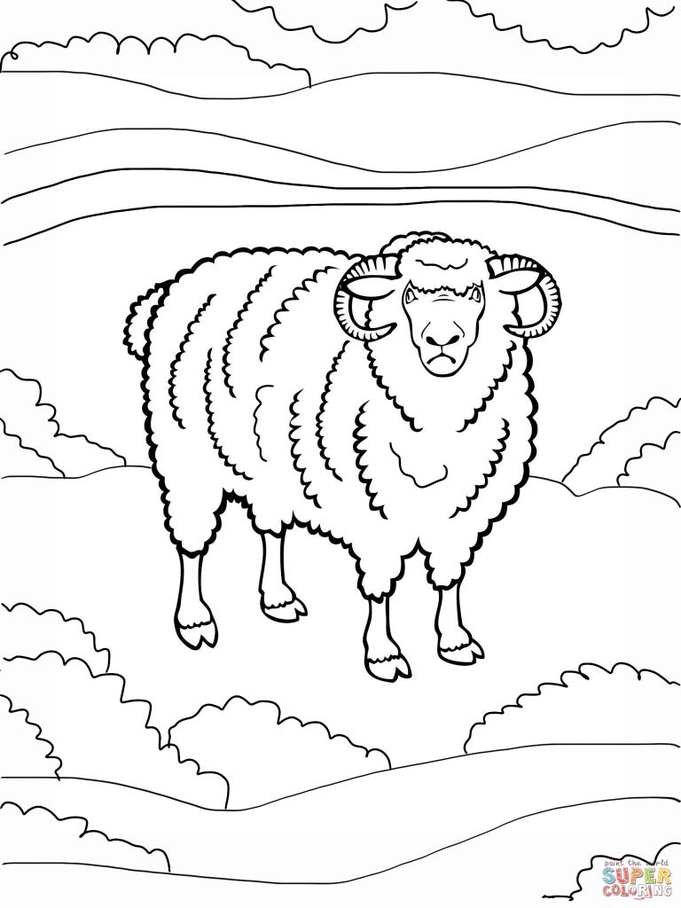 768x1024 Angry Ram Coloring Page Download