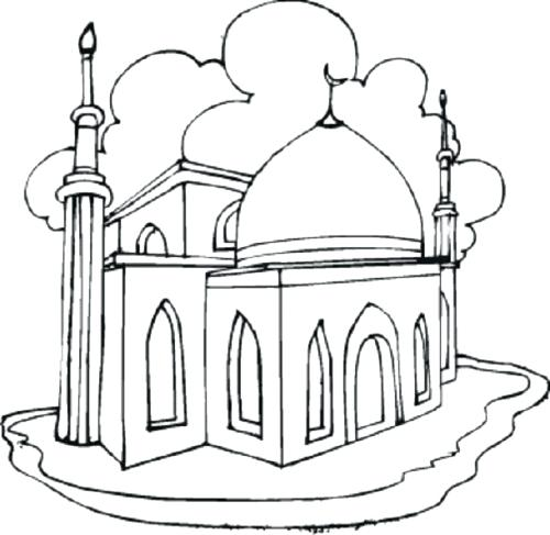 500x487 Ramadan Coloring Pages Mosque Coloring Pages Of And Ramadan Kareem