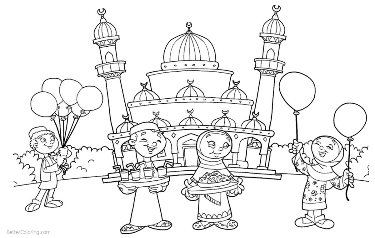 1200x760 Ramadan Coloring Pages People At The Mosque