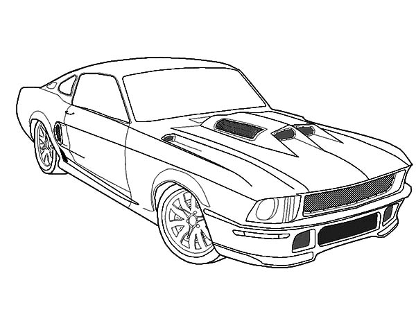 600x450 Simple Coloring Pages Cars Mustang