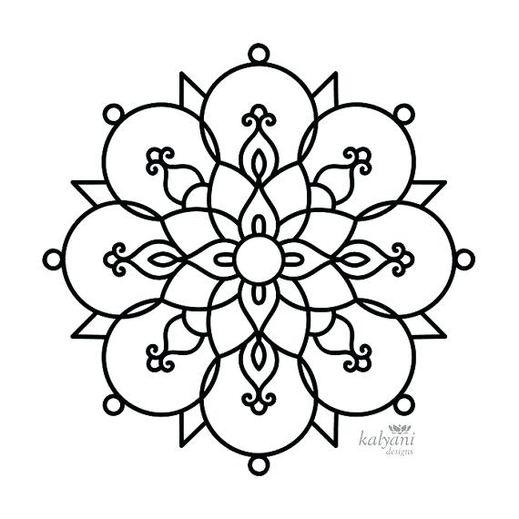 570x570 Rangoli Coloring Pages Five Colouring Pages Printable Digital