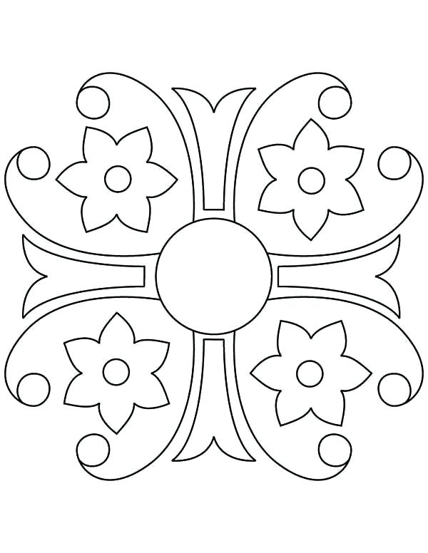 600x776 Rangoli Designs Coloring Pages Courtyard Floor Design Coloring