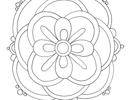 440x330 Rangoli With Peacock Coloring Page Free Printable, Rangoli Designs