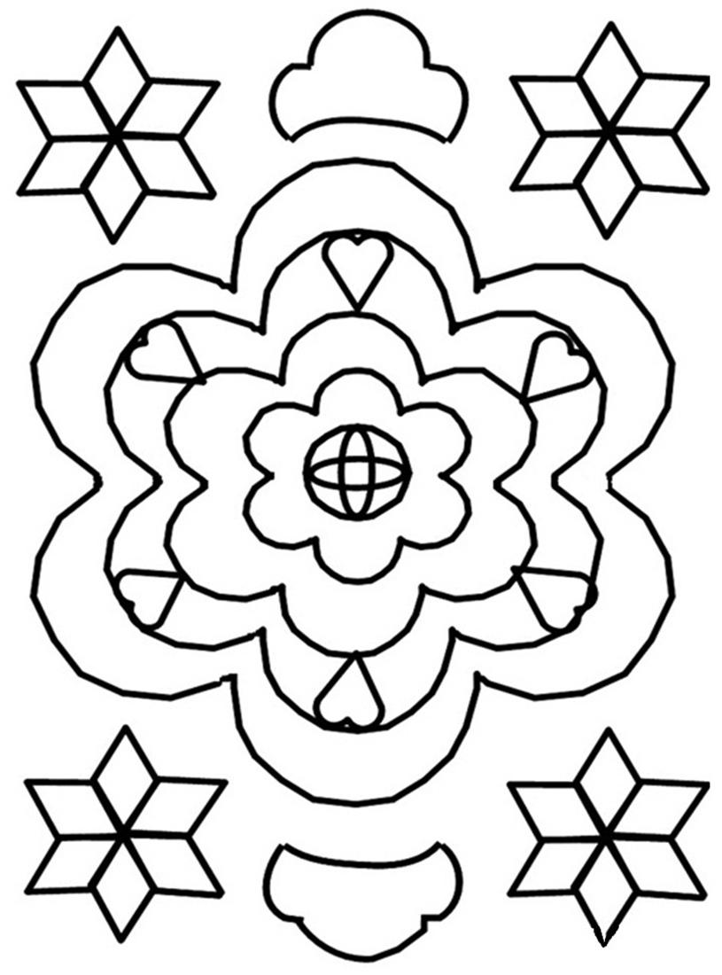 815x1100 Rangoli Colorful Art Coloring Printable Pages For Kids