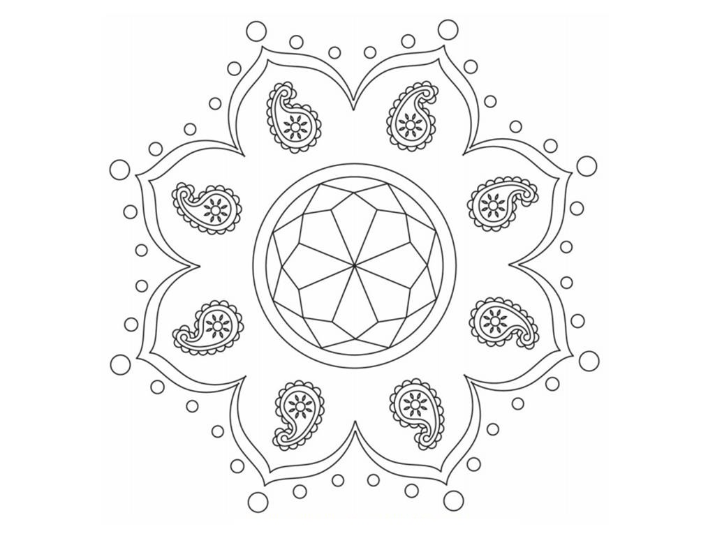 1024x768 Free Printable Rangoli Coloring Pages For Kids
