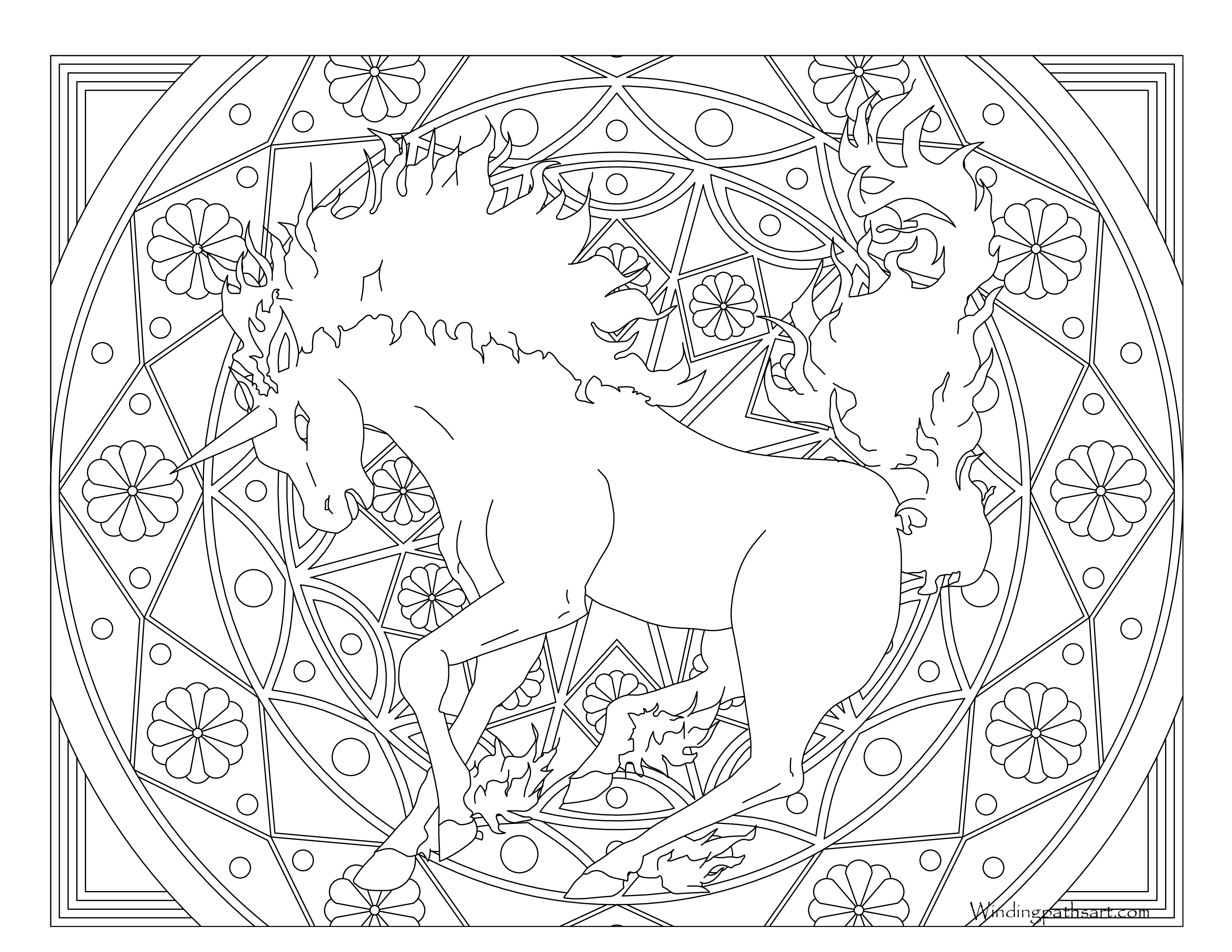 Rapidash Coloring Page