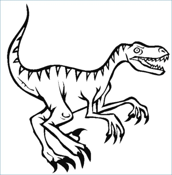 600x612 Velociraptor Dinosaur Coloring Pages Velociraptor Dinosaur