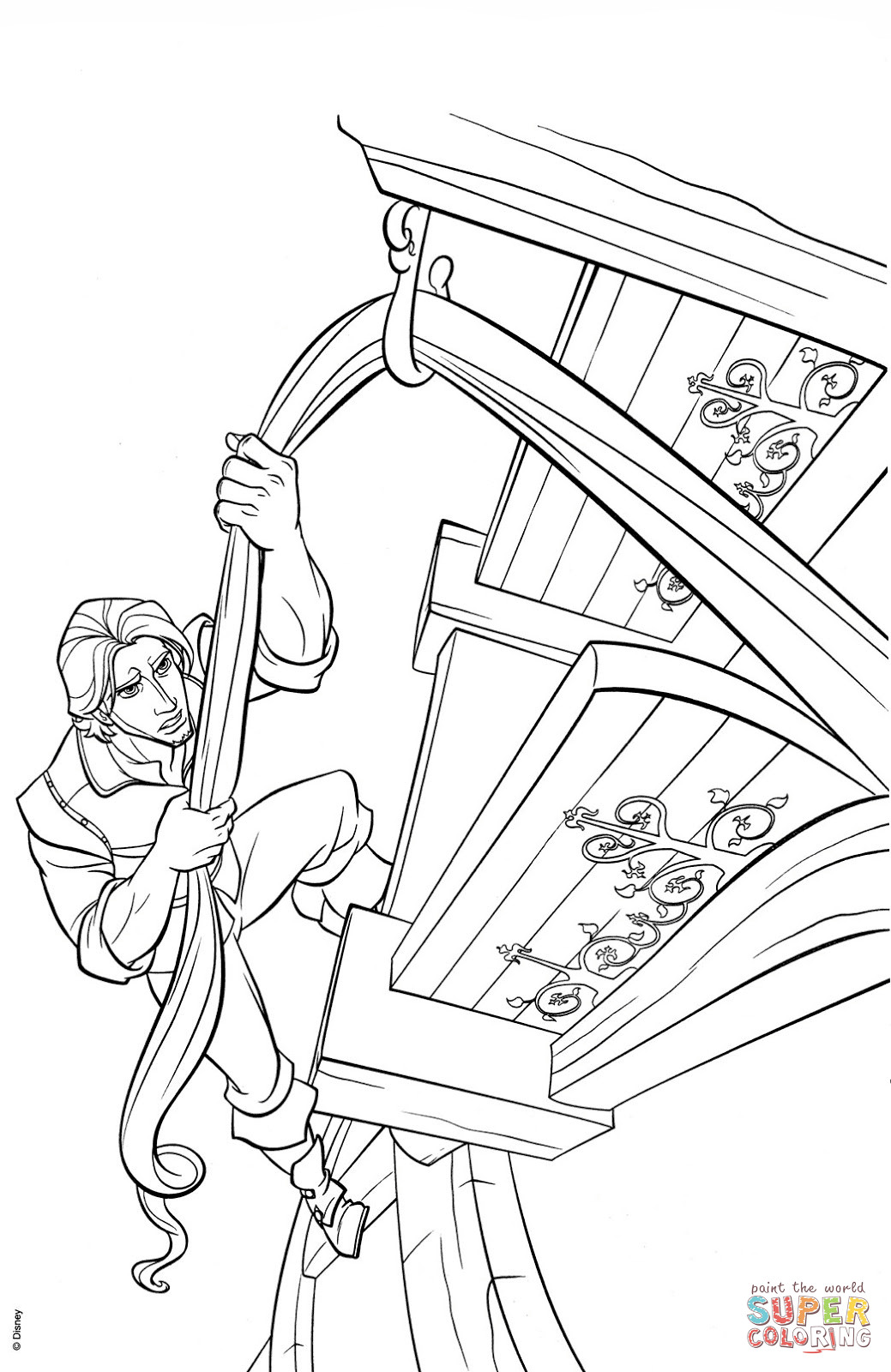 1039x1600 Flynn Rider Climbs Rapunzels Tower Coloring Page Rapunzel Pages