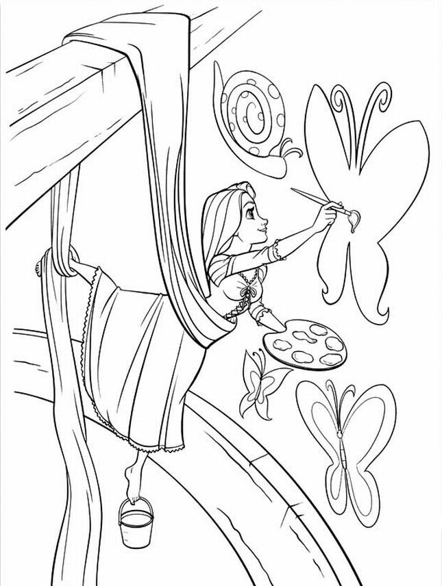 645x856 Rapunzel Coloring Pages