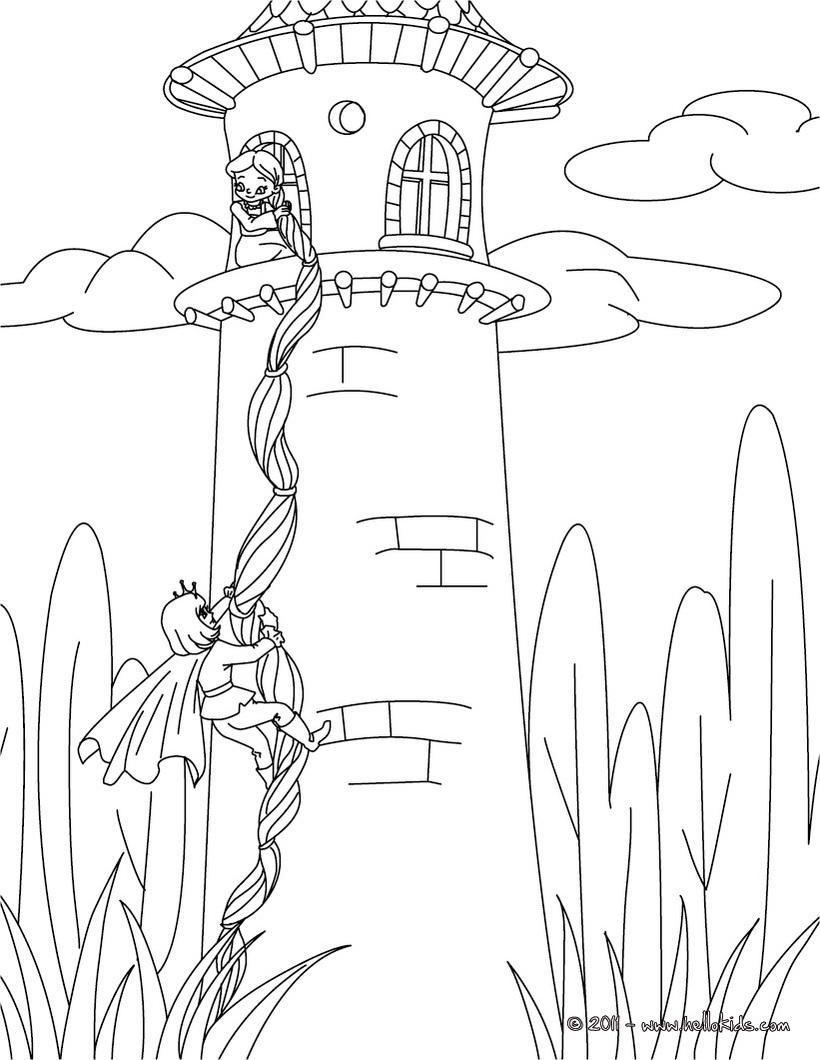820x1060 Rapunzel Fairy Tale Coloring Page