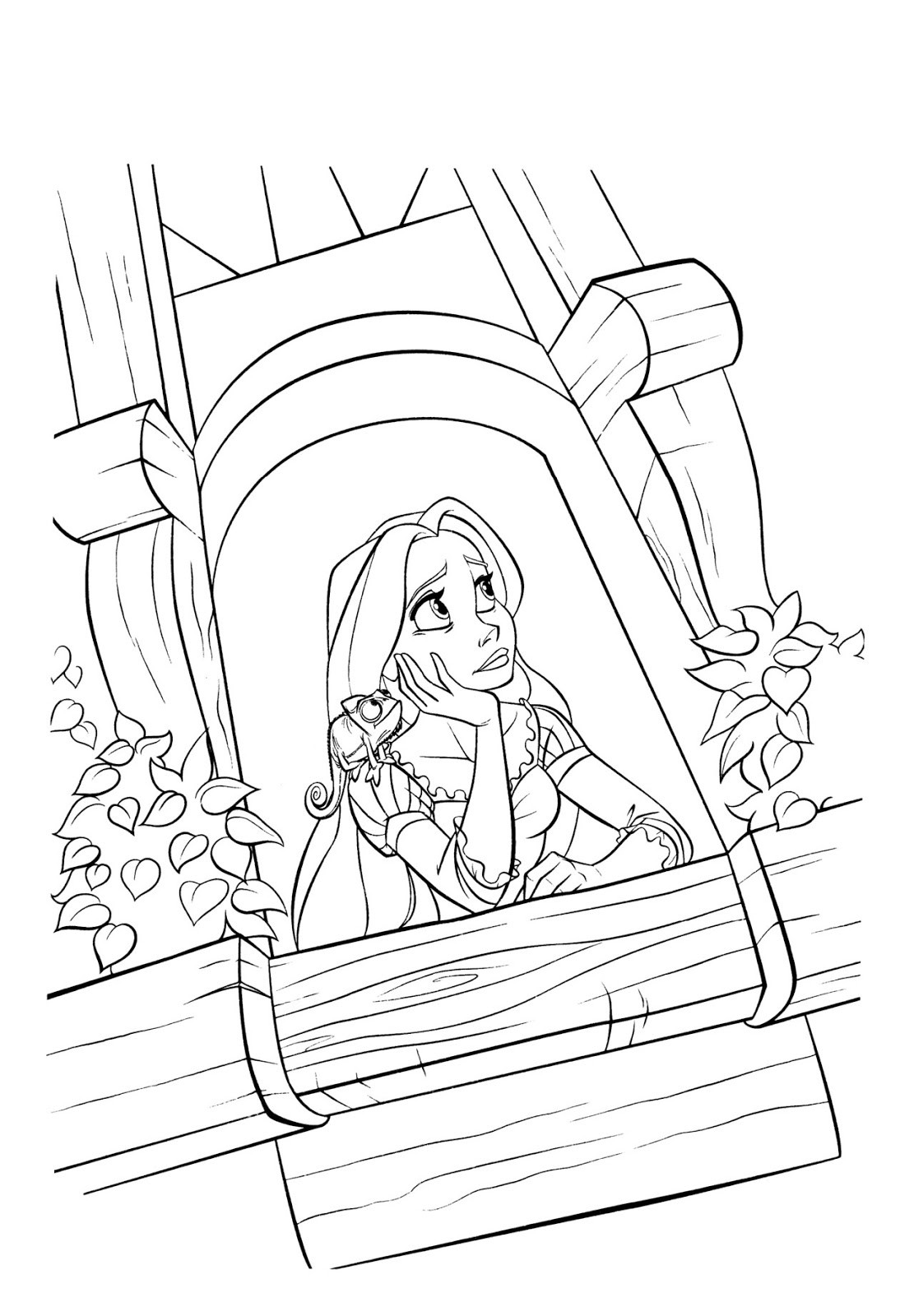 1111x1600 Rapunzel Tower Drawing Coloring Pages