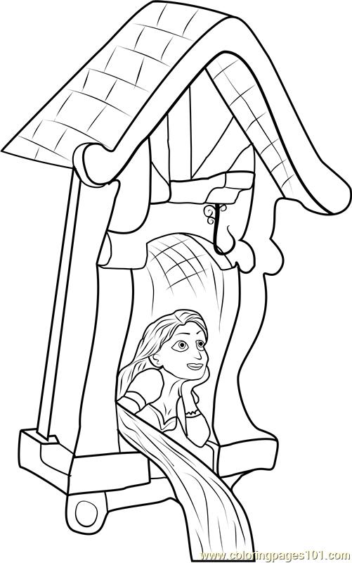 501x800 Rapunzel In Castle Coloring Page
