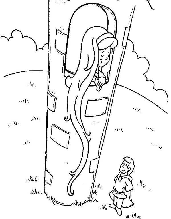 600x767 Rapunzel Offering Her Hair To Flynn Colouring Page Colouring Pics