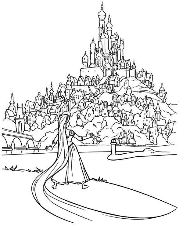 600x740 Rapunzels Tower Coloring Page Free Printable Coloring Pages