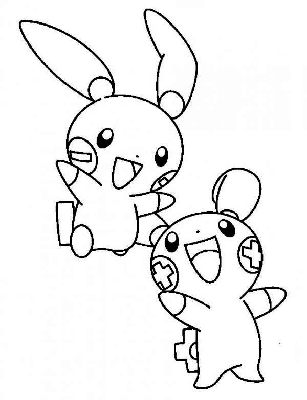 600x783 Plusle And Minun Legendary Pokemon Coloring Page Pokemon