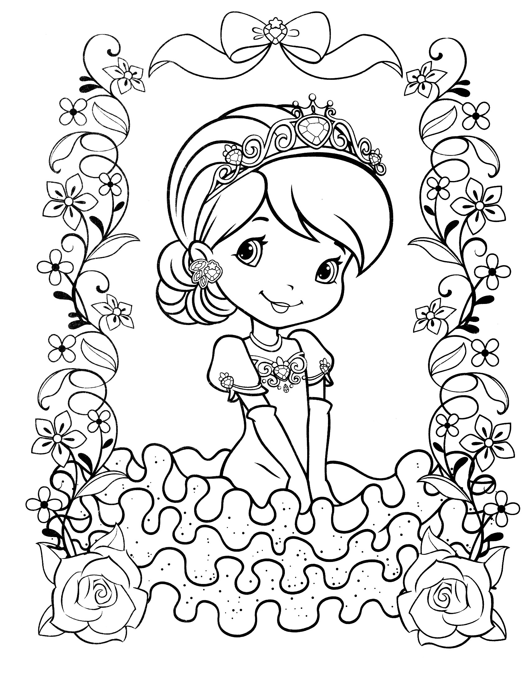 1700x2200 Raspberry With Flowers Fruits And Berries Coloring Pages For Kids