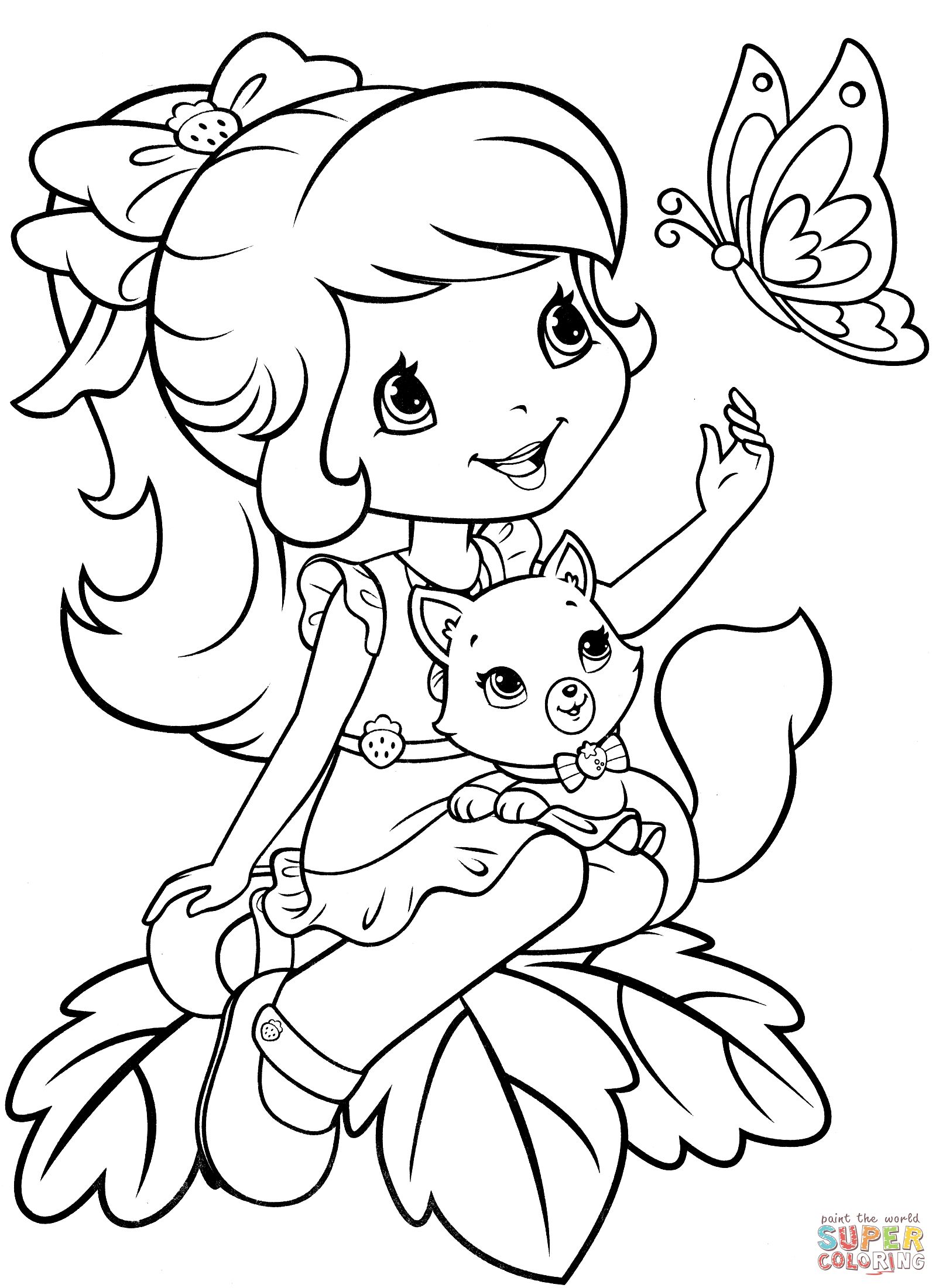 1604x2200 Strawberry Shortcake With Custard And Butterfly Coloring Page