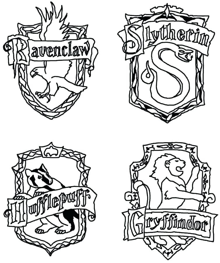 755x903 Harry Potter House Coloring Pages Hogwarts Crest Coloring Page