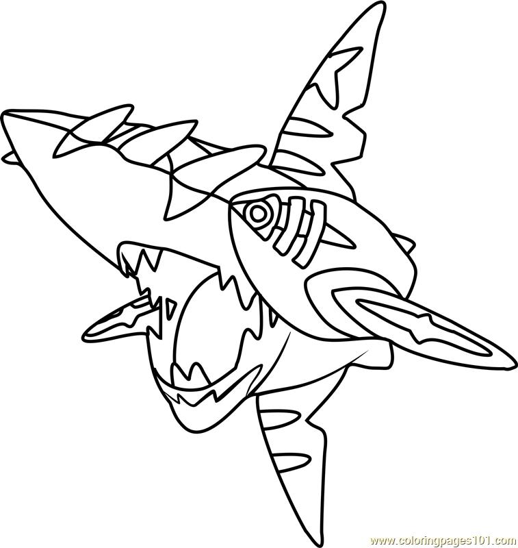 757x800 Mega Sharpedo Pokemon Coloring Page