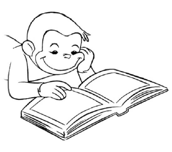 550x488 Curious George Reading Book Coloring Page